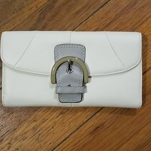 Coach White tri fold wallet